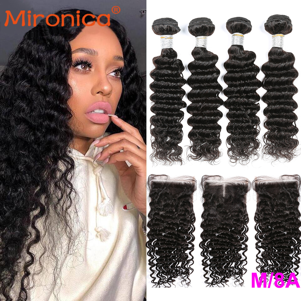 Mironica Human Hair Deep Wave Bundles With Closure 100% Remy Human Hair Bundles With Closure Natural Black Color Fast Shipping