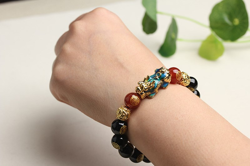 Black Agate With Body Temperature Discoloration Double Blessing Beads Bracelets Lucky Lucky Bracelet Jade Bracelet