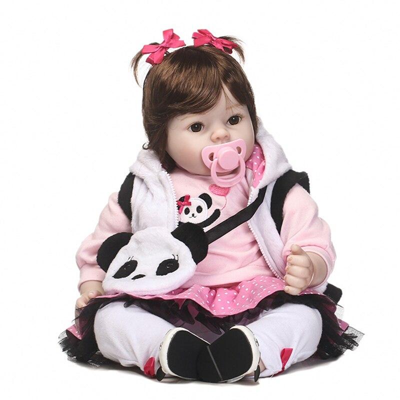NPK 50cm Baby Silicone Dolls Reborn Baby Dolls Lifelike Toddlers Doll Baby Girl with Cute Panda