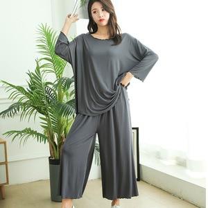 Image 2 - PLUS size home suits women autumn new loose long sleeved pajamas two piece set nine point wide leg pants pijama sleepwear femme