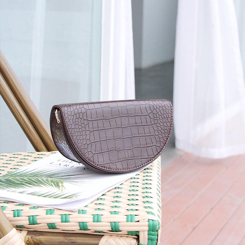 MABULA Fashion Crocodile Semicircle Crossbody Bag Saddle Bags Shoulder Bag PU Leather Luxury Handbag For Women Messenger Bag