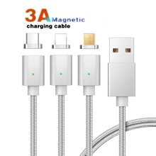 Magnetic Fast Charger Cable Micro USB Type C For iPhone Lighting 3A Charging Wire Type-C Magnet Phone