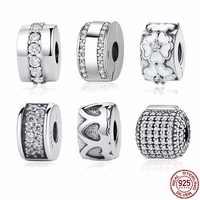 Authentic 925 prata esterlina 9 estilos clipe rolha espaçador grânulos encantos apto pan charme pulseira & pulseiras diy jóias finas