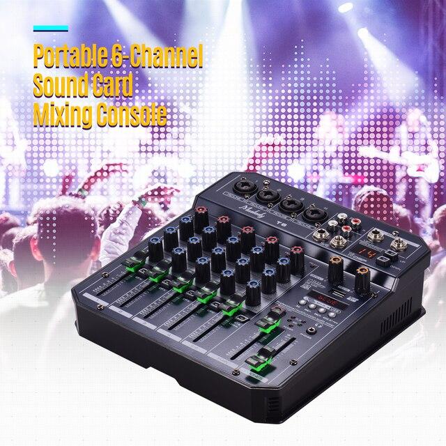 Muslady T6 tarjeta de sonido portátil de 6 canales, consola mezcladora de Audio con potencia Phantom de 48V integrada, compatible con conexión BT, DJ en vivo