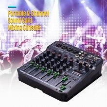 Muslady t6 portátil 6 channel placa de som mistura console misturador de áudio embutido 48v phantom power suporta bt conexão dj ao vivo