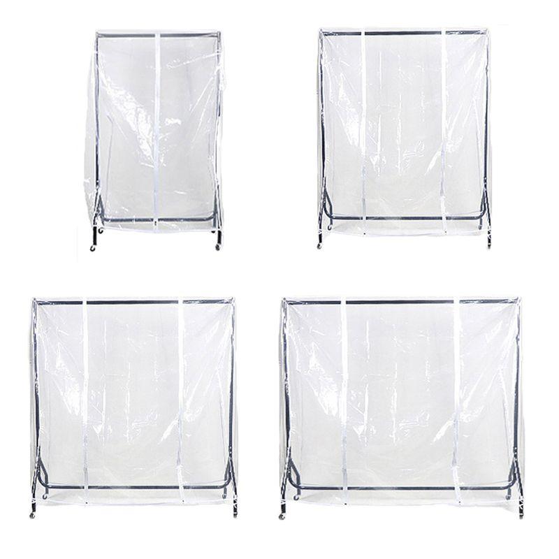 Clear Waterproof Dustproof Zip Clothes Rail Cover Clothing Rack CoverHanging Garment Suit Coat Storage Display  Protector Bag