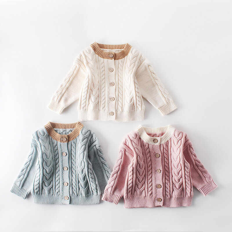 Kids Baby Girl Sweater Solid Knitted Autumn Winter Kids