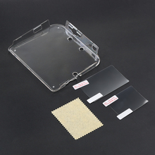 حافظة جديدة مضادة للخدوش 2Ds متينة من البلاستيك الشفاف غطاء واقٍ مزخرف لهاتف آيفون شل + فيلم مضاد للغبار لألعاب نينتندو 2DS