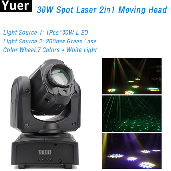 Mini Spot Laser 2IN1 30W LED Moving Head Light With Gobos Plate&Color Plate High Brightness DJ Disco Stage Laser Light DMX512 shehds mini spot 30w led moving head lights parts wheel color