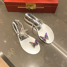 Crystal Slippers Summer Shoes Butterfly-Decor Sandalias Flip-Flops Woman Ladies Luxury