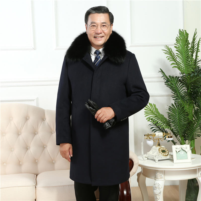 Pea Coat Jacket Button-Wool Blends Thick Men's Winter Fur Padded QUILTED Removable Lining