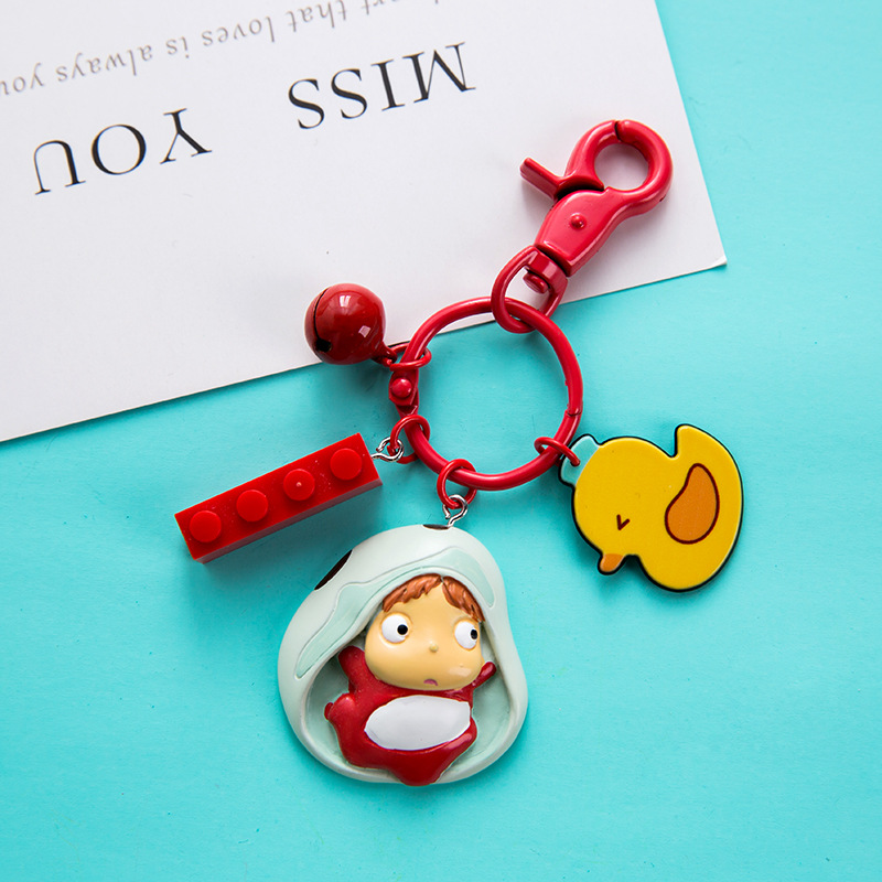 2020 New Pendant Key Chain The Ponyo Fish Shape Girl Keychain Wave Bag  Keyring In Bucket Is Lovely Woman