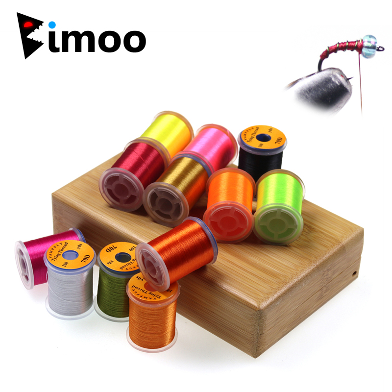 Bimoo 12 Colors 70D Fly Tying Thread For Size 14~22 Midge Nymph Small Dry Flies Fly Fishing Lure Making Material