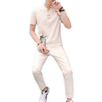 Conjunto de dos piezas de bordado para hombre de estilo chino, camiseta de tela de algodón y lino y pantalones hasta el tobillo, conjuntos para hombre de talla grande 5xl