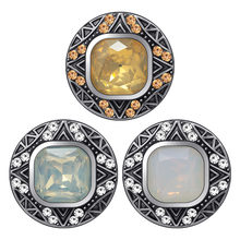 KZ3563 Beauty Round patterns Square rhinestone 18MM snap buttons fit DIY 18MM snap bracelet snap jewelry Christmas Gift(China)