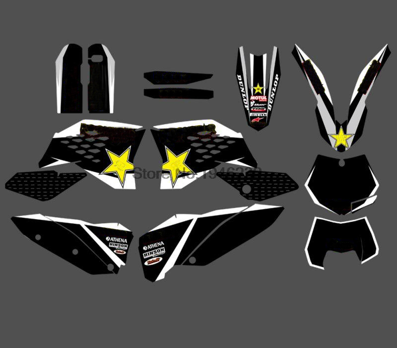 Motorcycle GRAPHIC DELCAS <font><b>STICKERS</b></font> BACKGROUNDS FOR <font><b>KTM</b></font> 125 200 250 300 350 <font><b>450</b></font> 525 SX SXF 2007-2010 EXC XCF 2008-2011 image