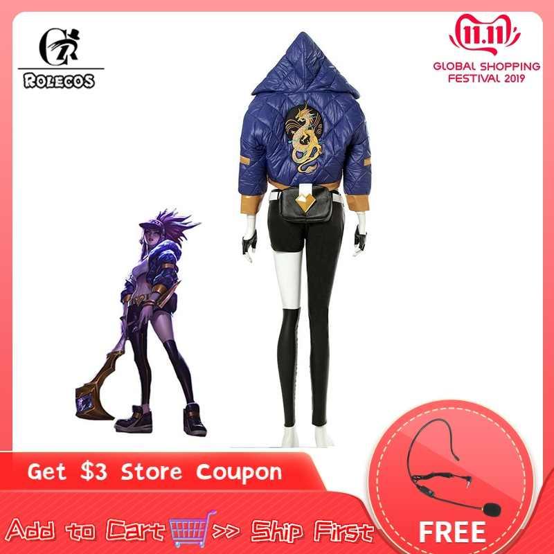 ROLECOS KDA Akali disfraz de cosplay LOL AKALI disfraz de cosplay LOL K/DA mujer traje abrigo pantalones guantes bolsa Halloween
