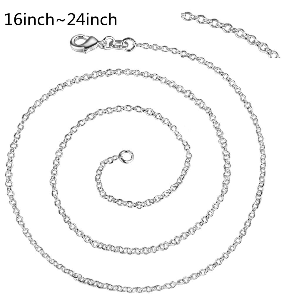 C001 Hot Sale Thin Chain Fashion Rolo Silver jewlery 1mm Necklace 18-24 Fashion Jewelry Fit DIY Pendant Charm Chains for Women