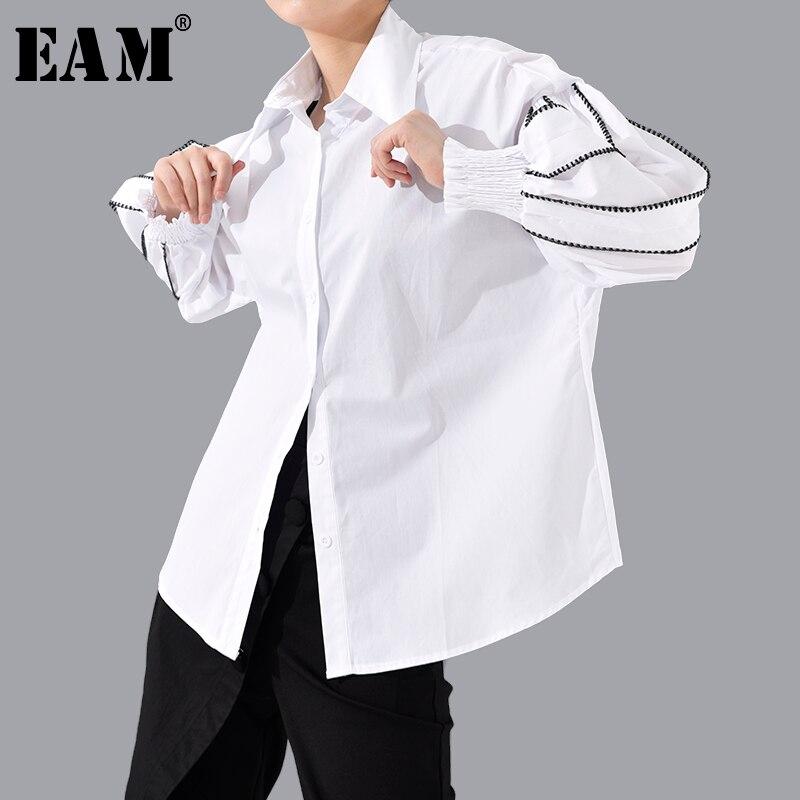 [EAM] Women Split Joint Big Size Blouse New Lapel Long Lantern Sleeve Loose Fit Shirt Fashion Tide Spring Autumn 2020 1T802