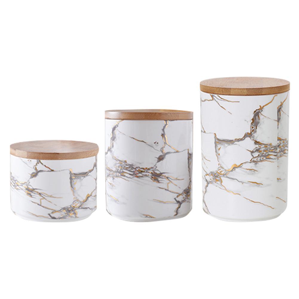 Sealed Coffee Jar Tea Sugar Container Ceramic Storage Box Round Kitchen Case