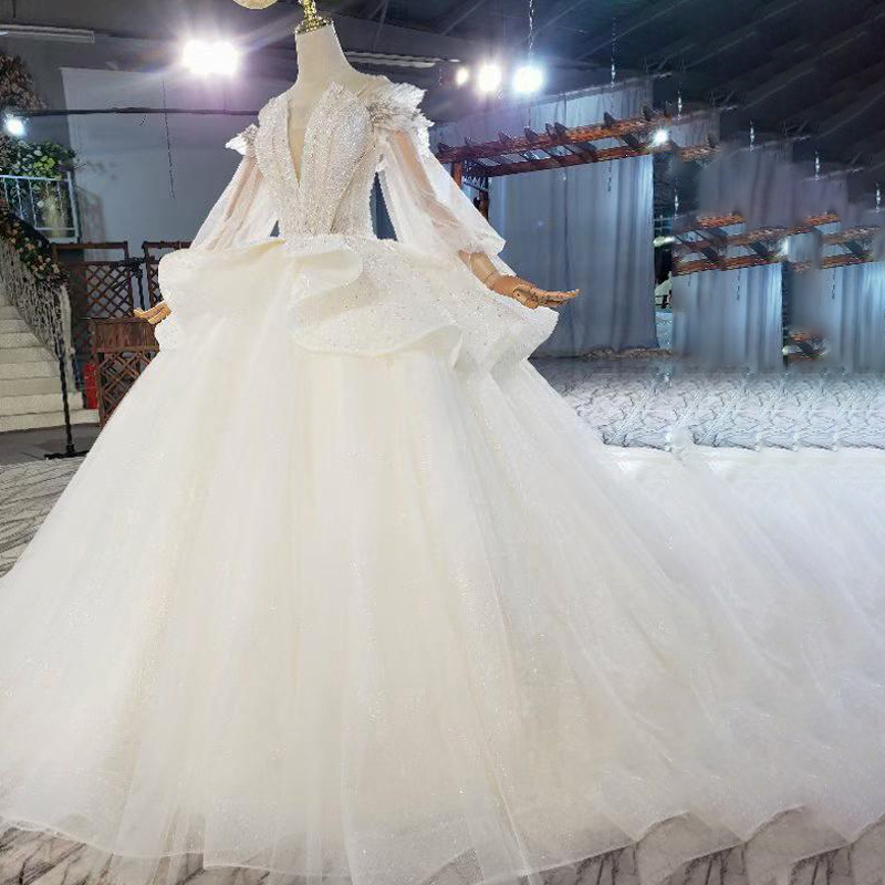 HTL1822 Sequined Beading Wedding Dress 2020 High Neck Long Puff Sleeve Tulled Lace Up Back Applique Ball Gowns 3