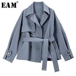Женская двубортная куртка EAM, свободная синяя куртка с длинным рукавом и отворотом, на весну 2020, 1S258