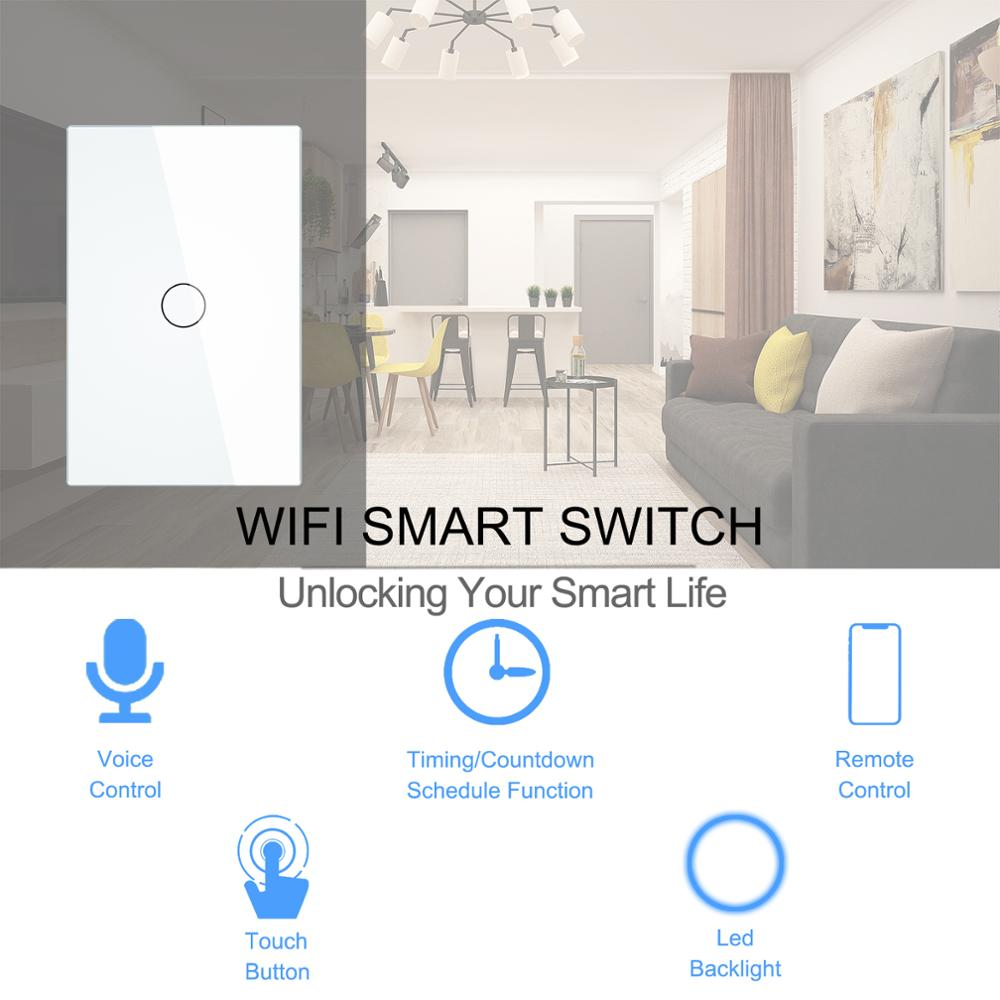 Smart Wifi Touch Switch No Neutral Wire Required Smart Home 1/2/3 Gang Light Switch 220V Support Alexa Tuya App 433RF Remote 2