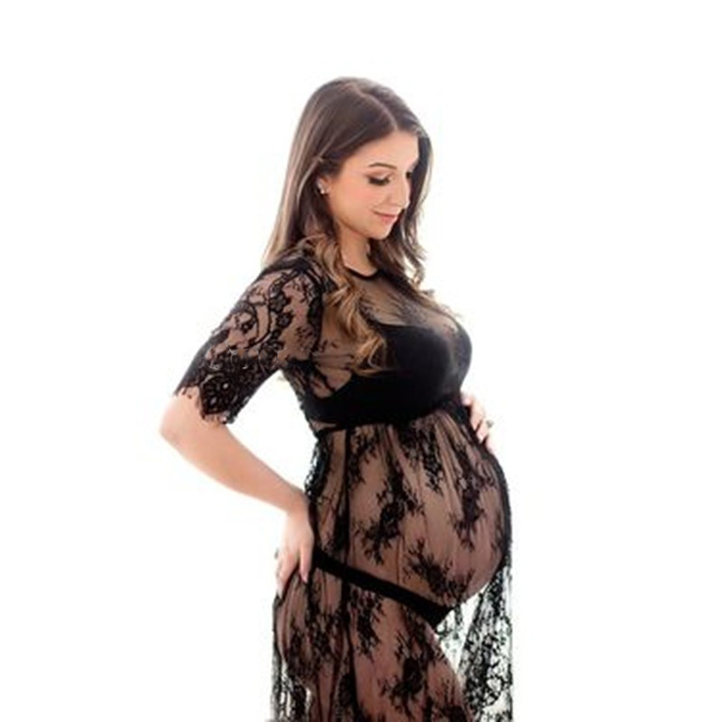Maternity Photography Props Pregnant Dress For Photo Shoot Maternity Sexy  Clothes Long Lace Dress Pregnancy Clothing O-Neck