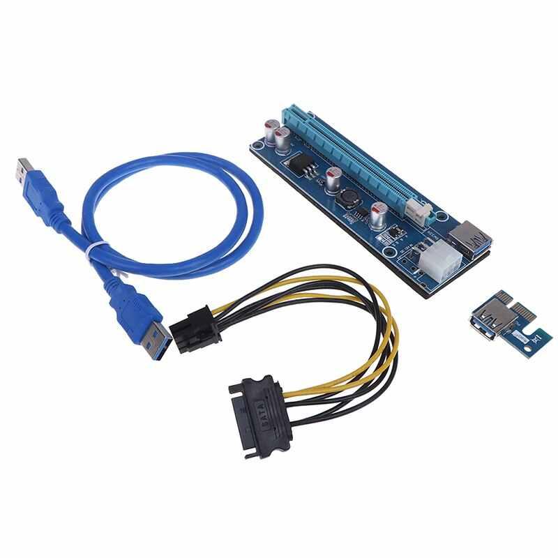 PCI-E 1X to 16X Riser Card PCIE USB3.0 SATA Extension Adapter Card Power Cable