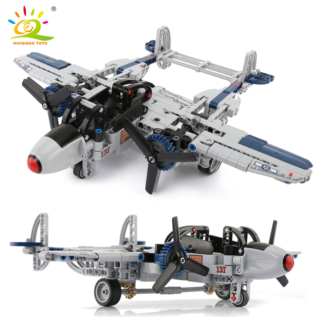 HUIQIBAO 330pcs WW2 US Lightning P-38 Fighter Amry Building Block Airplane Military technic Bricks Construction Toy for children