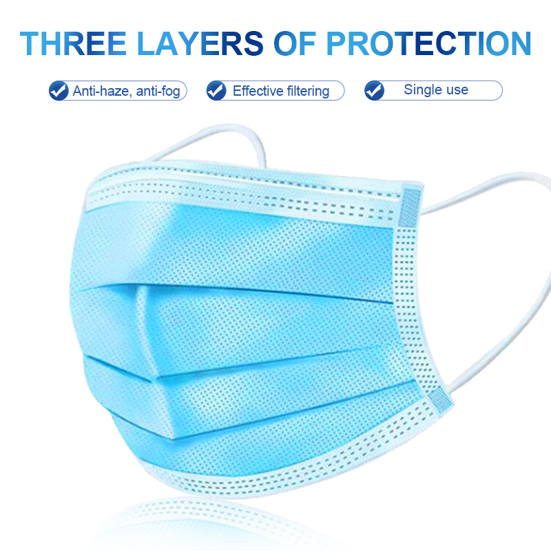 50 Pcs 3 Layer Disposable Earloop Mask Anti Dust Respiratory Face Masks Anti Fog Face Protect Mouth Masks Breathable Mouth Cover