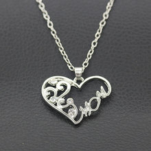 Simple Charms Crystal Hollow Out Heart Necklace Delicate Alloy MOM Choker Necklace Mother Day Fashion Jewelry Gift For Women delicate alloy geometric necklace for women