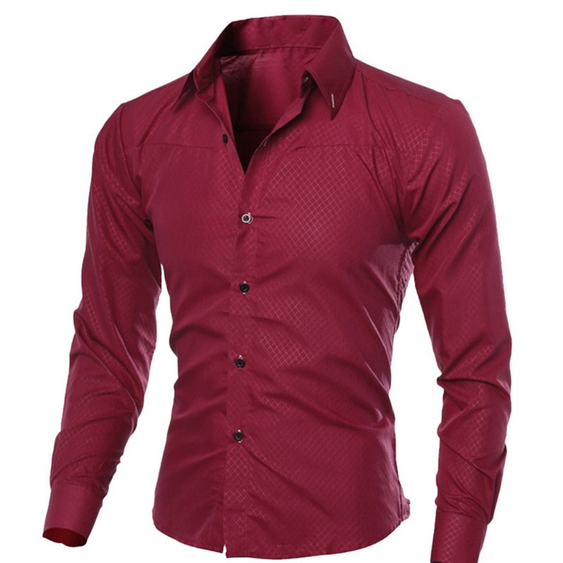 Cysincos 2019 Men Casual Shirts 2019 Autumn New Fashion Solid Color Man Long Sleeve Cotton Slim Fit Casual Business Button Shirt