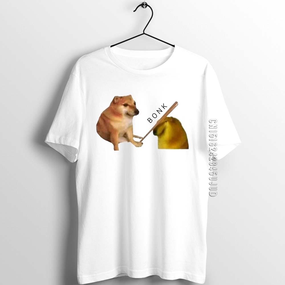 Унисекс для мужчин и женщин для ребят футболка Бонк мем Doge забавные иллюстрации с мужской хлопковая Графический дизайнерские футболки; Мод...