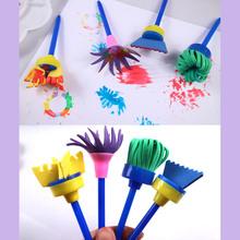 25 sztuk sztuka DIY zapasy rzemieślnicze dla dzieci dzieci EVA gąbka pędzle malarskie Graffiti rysunek kształty narzędzia pędzel podkładka tanie tanio Sponge Painting Brush Sponge + plastic + wood + pig hair +EVA Children 4 * flower sponge brushes 4 * EVA flat sponge brushes