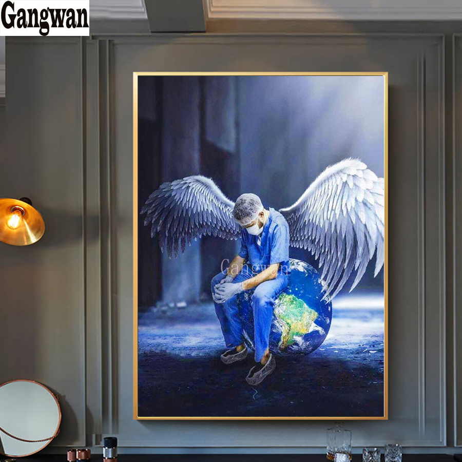 Doctor Angel Saves Life Diamond Painting Full Drill Round square Diamond Mosaic Art Diamond Embroidery Earth Picture Wall Decor