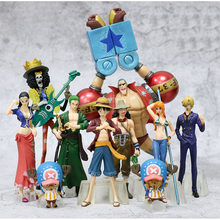 10pcs/lot Japanese Anime One Piece Roronoa Zoro Luffy Chopper Nami Sanji Usopp Nico Robin Franky PVC Action Figure toys kid gift(China)