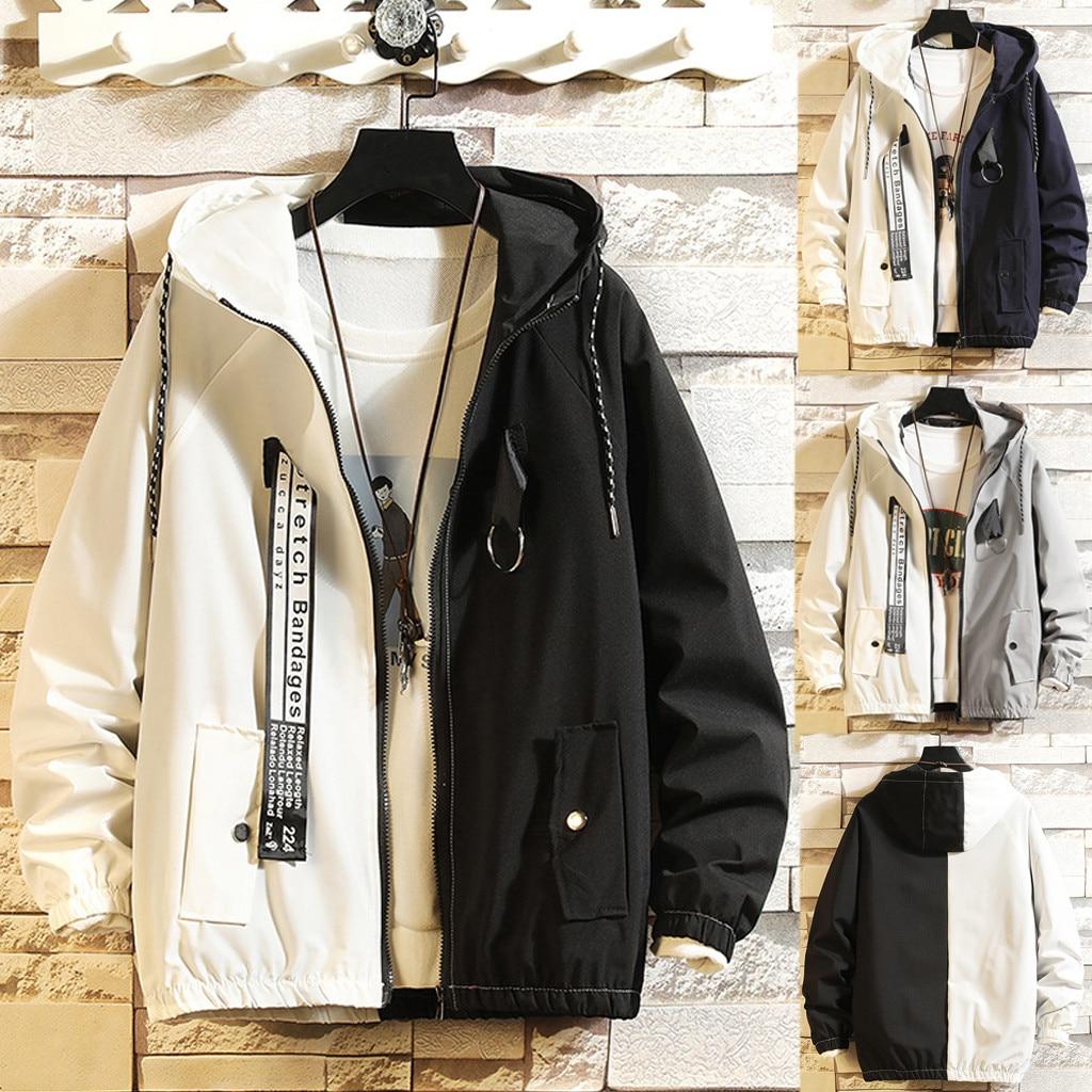 Dropshipping Casual Tops Plus Size  Fashion Men's Autumn Casual Fashion Color Collision Hoodie Thin Jacket Zipper Coat  Wo Man