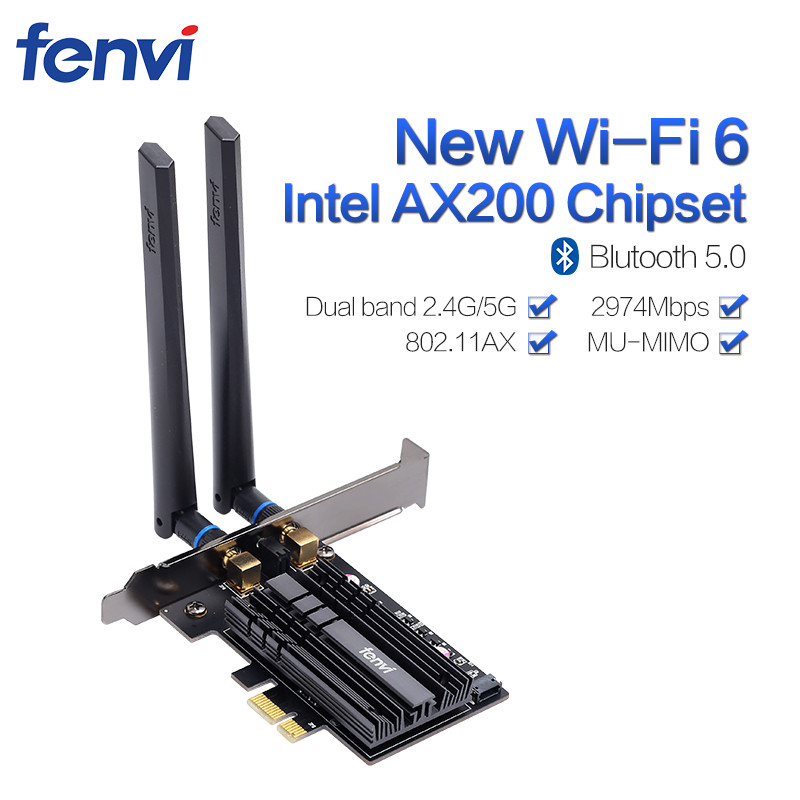Wireless-AC 2400Mbps Desktop PCI-E Dual Band WLAN Wi-Fi Card Adapter For Wi-Fi 6 AX200NGW 802.11ac/ax BT5.0 With Antennas