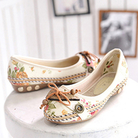 Shoes High Quality Cute Sen Women Shoes National Wind Shallow Mouth Floral Flower Comfortable Soft Bottom Shoes