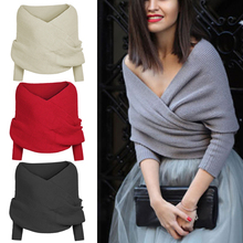 Women solid color Knitted Sweater Tops Scarf with Sleeve Wrap Winter Warm Shawl