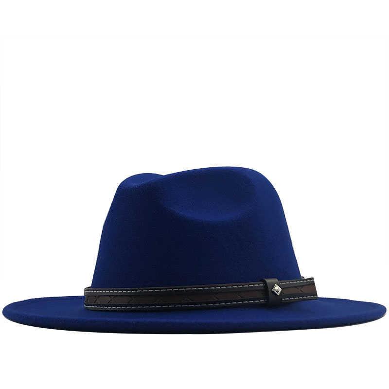 Fashion Pria Topi Wol Merasa Topi Pesta Jazz Fedora Trilby Topi dengan Sabuk Gesper Kuning Oranye Merah panama Topi
