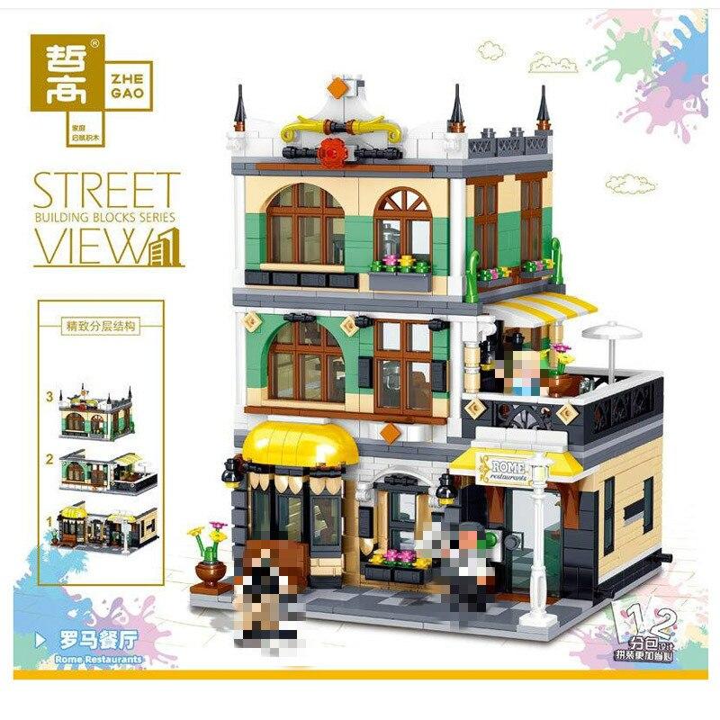 ZHEGAO QL0936 Creator MOC Street View Series Rome Restaurants Building Blocks 1186pcs Bricks Toys Sets Compatible Creator
