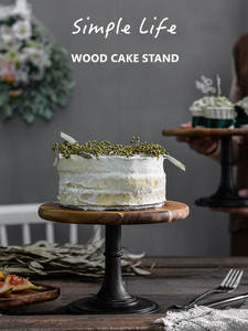 Cake Plate Stand Wooden Plate High Base Cupcake Dish Party Filming Props Dessert Dish Wedding Tray Decoration Display