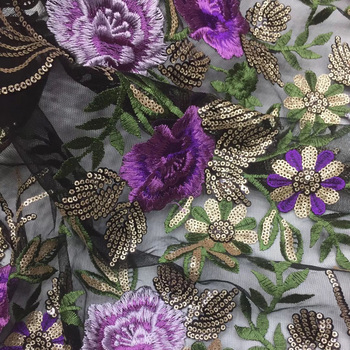 (5yards/pc) Black and purple African French net lace fabric with excellent flowers embroidery and sequins for party dress FSS017