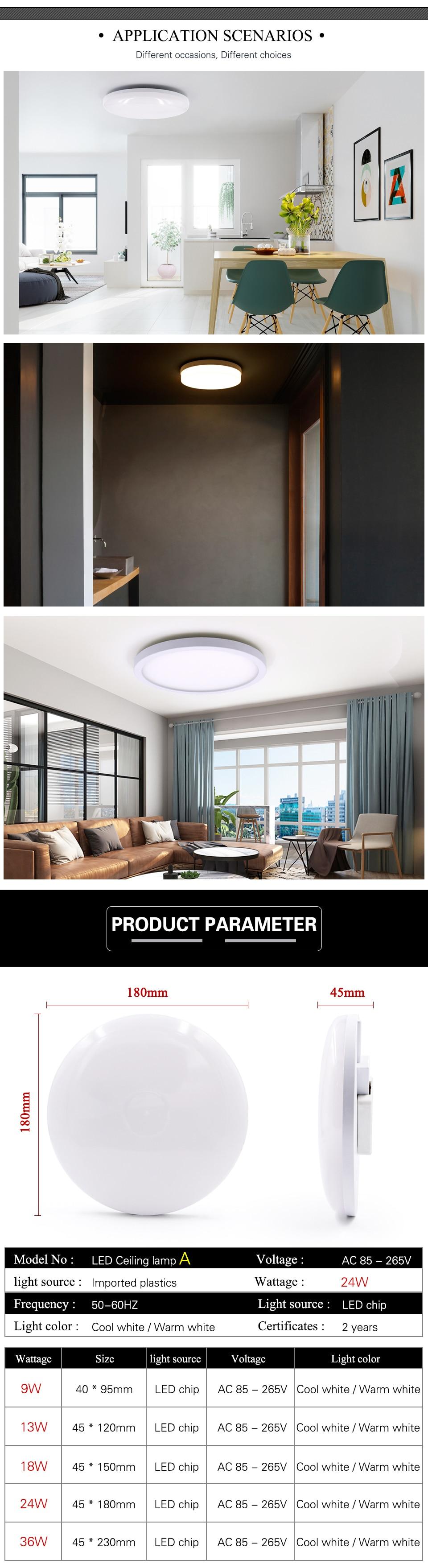 Ha31240afedc84c65ab78b3a804f5165aK EnwYe 6W 9W 13W 18W 24W 36W 48W LED Circular Panel Light Surface Mounted led ceiling light AC 85-265V lampada led lamp