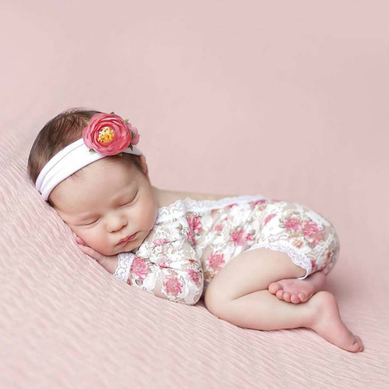 Newborn Photography Props V-Back Romper Flower Print Lace Birthdays Photography Props Baby Girls Costume Outfits Baby Photo Prop