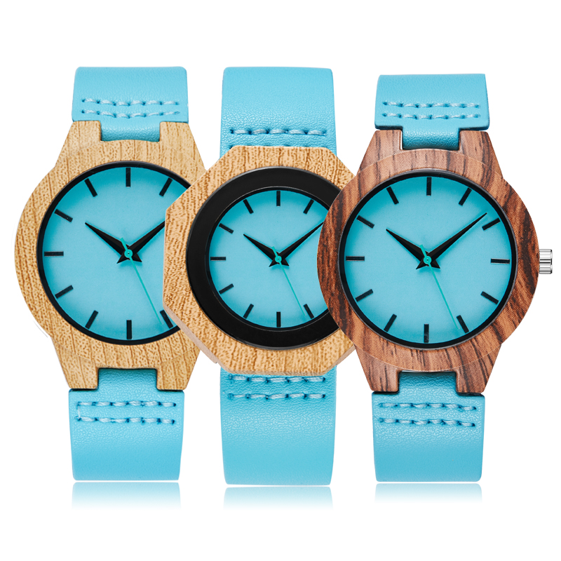 Creative Imitation Wood Quartz Watch Men Women Wooden Watches Blue Dial Hexagon Case Watches Leather Band Couple Lover Wrist
