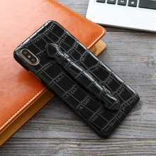 Genuine leather hand strap holder hard case for iPhone X XS 10 phone luxury cute bamboo ultra thin slim cover cases Solque