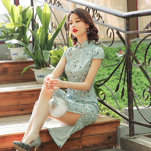 Image 3 - Шелковое платье Ципао Sheng Coco, атласное женское традиционное китайское платье, длинное розовое элегантное вечернее платье Ципао